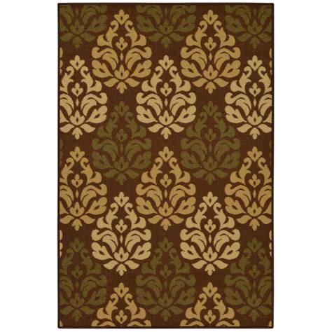 area rugs 5x7 home depot ottomanson contemporary damask design chocolate 5 ft x 6 ft 6 in area rug oth2248 5x7 the