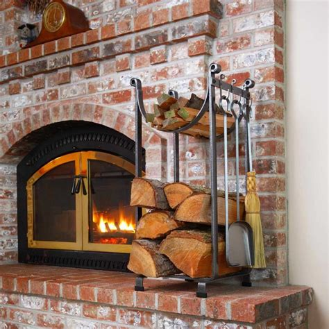 wood rack for fireplace metal indoor firewood rack for rustic living room design with exposed brick wall panels and