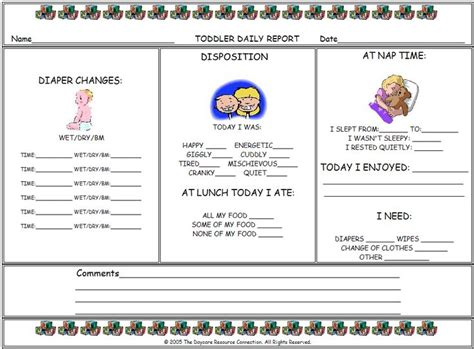 Toddler Daily Report Form