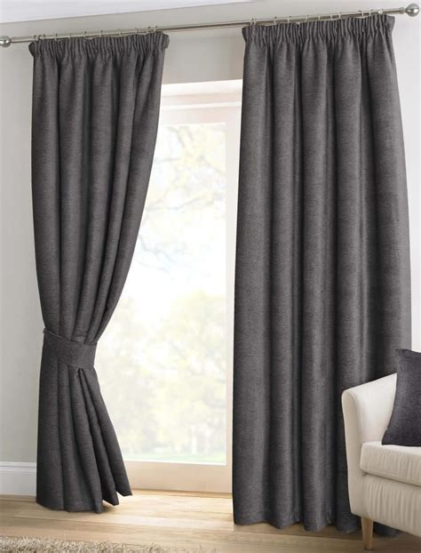 Lined Bedroom Curtains Ready Made Pewter Grey Chenille Pencil Pleat Lined Thermal Ready Made Curtains Ebay