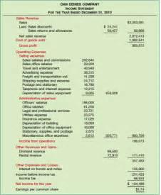 multi step income statement template multi step income statement exle best template collection