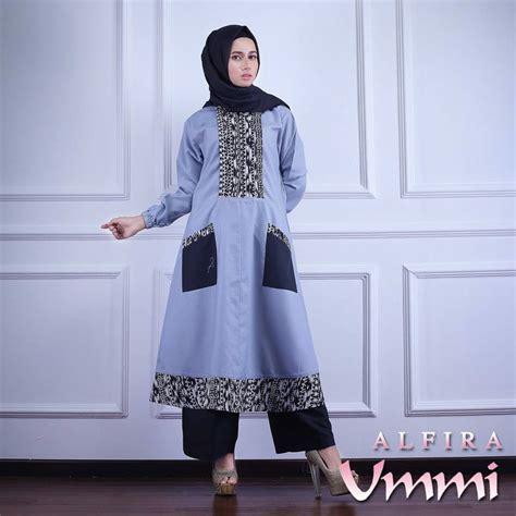 Dress Alfira alfira grey baju muslim gamis modern