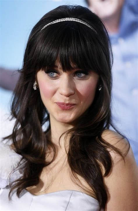 Brunette Long Hairstyles With Bangs | zooey deschanel long hairstyle brunette with bangs