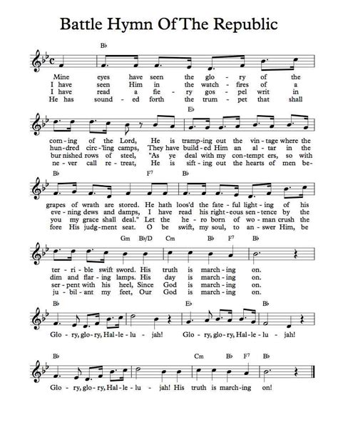 printable lyrics to battle hymn of the republic free sheet music free lead sheet battle hymn of the