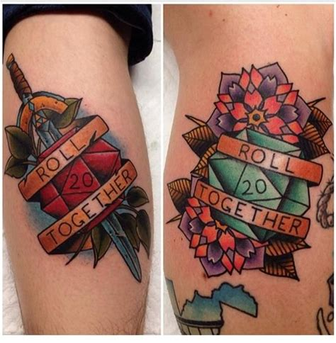 geeky couple tattoos gets matching d20 tattoos thinkgeek