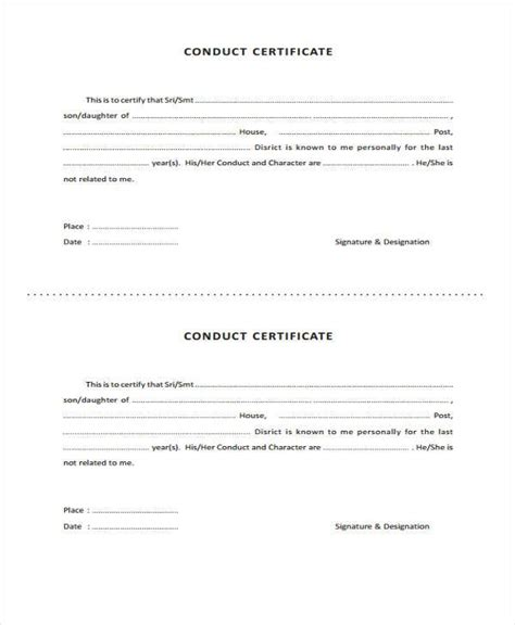 certificate of conduct template 41 sle certificate forms