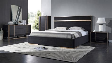 black contemporary bedroom set nova domus cartier modern black brushed bronze bedroom set