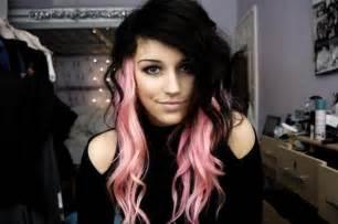 Black hair with pink streaks