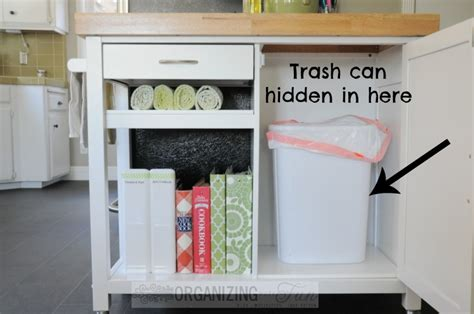 inside cabinet trash can kitchen update organizing cookbooks and recipes
