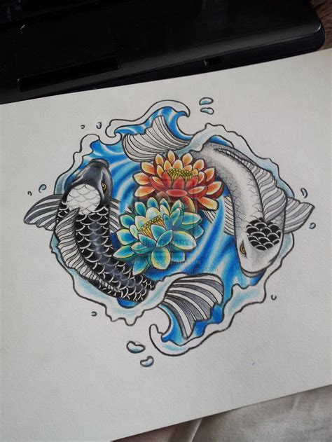 yin yang fish tattoos designs coy fish ying and yang tattoos but circling roses for