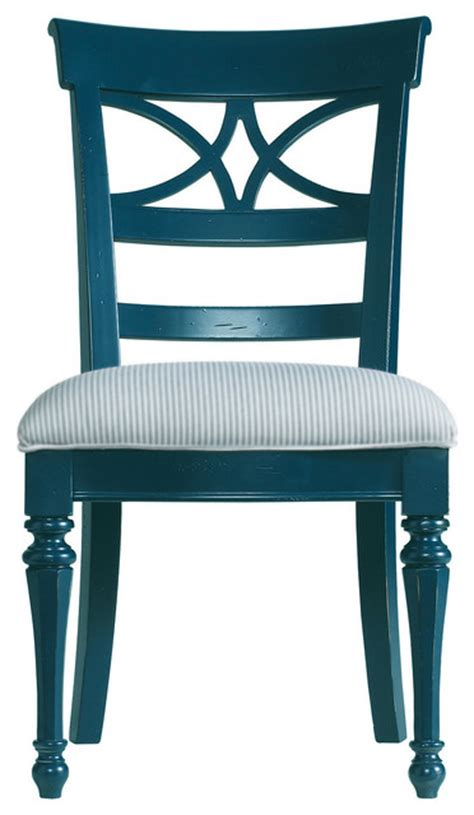 Coastal Living Cottage Sea Watch Side Chair Navy Finish Cottage Style Dining Chairs