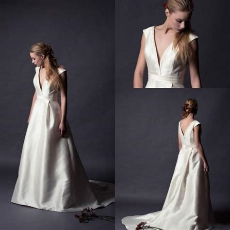 Vintage Satin Wedding Dresses by Vintage 2015 Alan Satin Wedding Dresses V Neck Cap