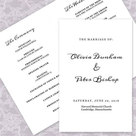 21 Wedding Program Templates Free Sle Exle Format Download Free Premium Templates Simple Wedding Program Template