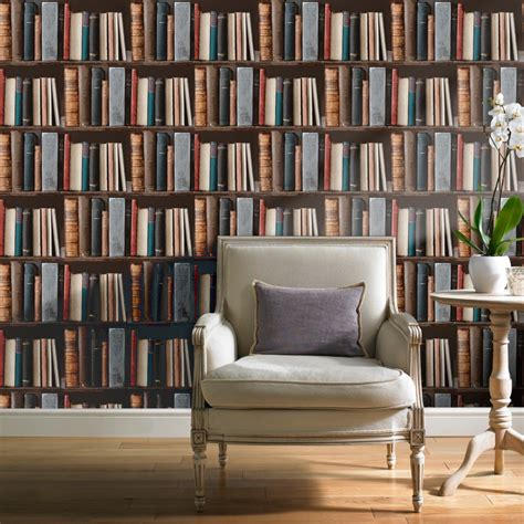 Rasch Wallpaper Grandeco Library Realistic Book Shelf Mural Wallpaper Pob