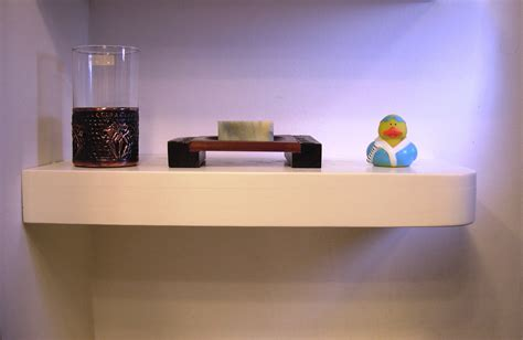 small white floating corner wall shelf for display