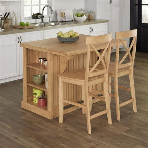 butcher block island with chairs home styles 48 in w butcher block top island and two