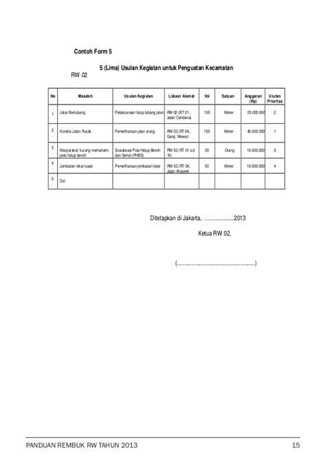 format buku rt buku panduan rembuk rw 2013