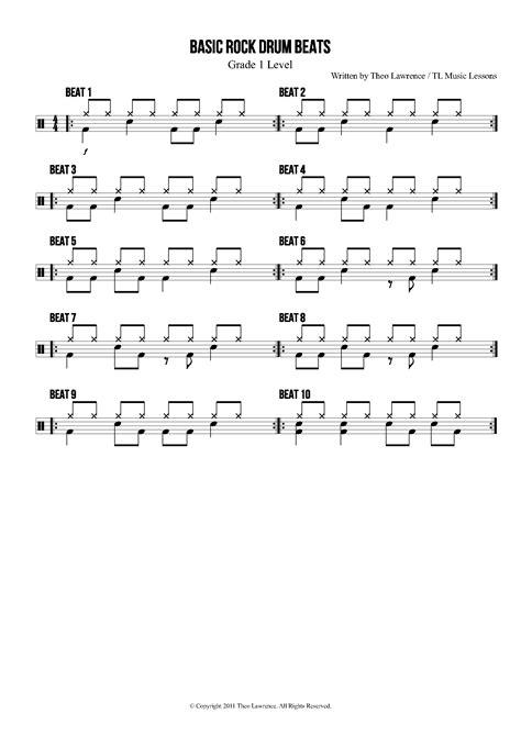 drum pattern pop 10 basic rock drum beats sheet music pinteres