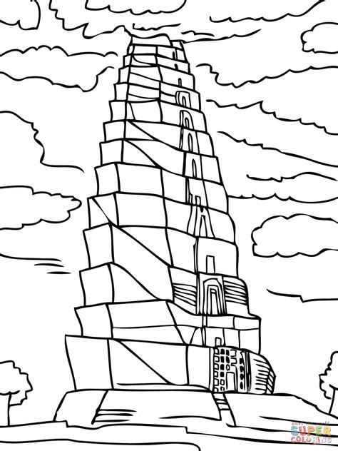 tower of babel coloring page free printable coloring pages
