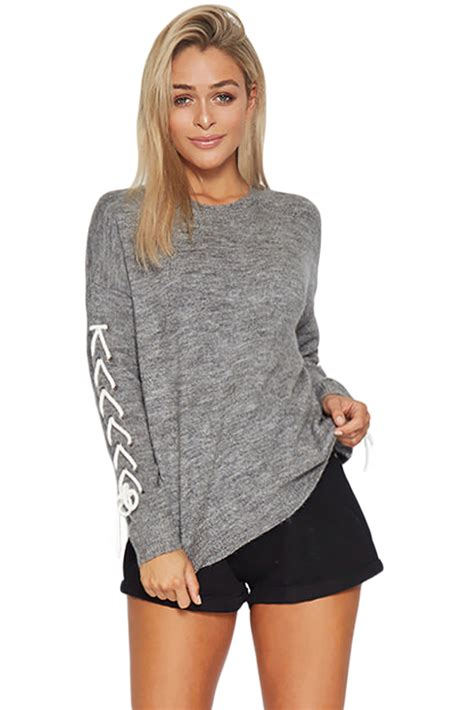 Lace Sweater Gray us 15 07 gray lace up sleeve sweater dropshipping