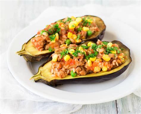 eggplant boats eggplant boats stuffed with veggies and savoury mince
