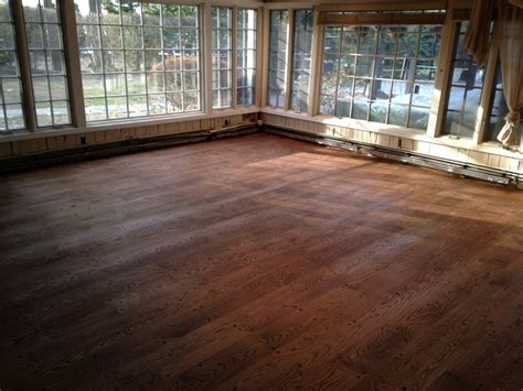 Floor finished with one coat of DuraSeal Provincial Stain