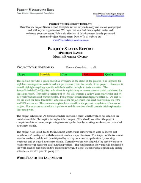 Project Status Report Weekly Executive Status Report Template