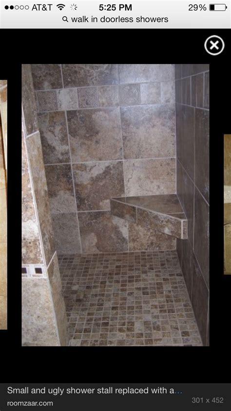 Walk in, wrap around doorless shower! Love.   showers