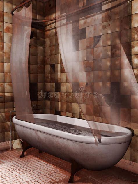 vieille baignoire vieille baignoire avec le sang illustration stock