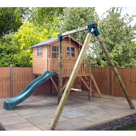 wooden playhouse with swing wooden playhouse kids wood wendy den play house child