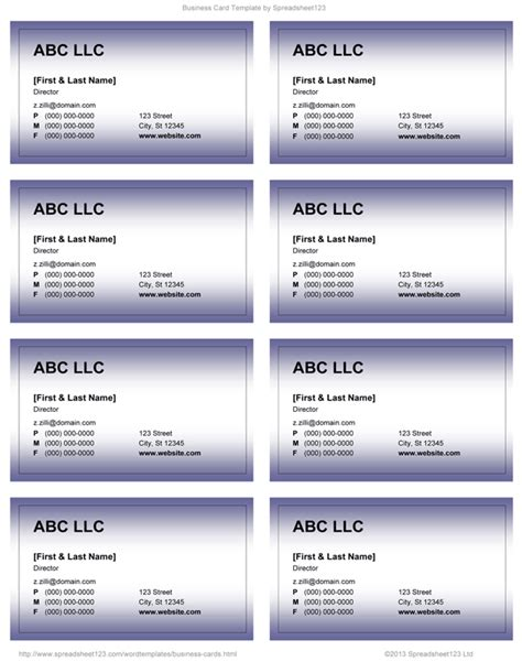Business Card Template For Word by Business Card Templates For Word