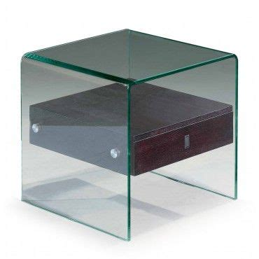 Modern Glass Wenge End Table With Drawer Bella Modern Modern Glass Desk With Drawers
