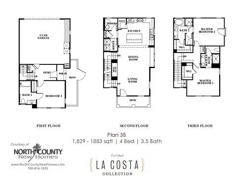 la costa collection floor plans plan 1a north county la costa collection floor plan 3b north county new homes