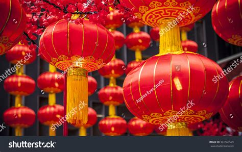 new year festival lanterns during new year festival stock photo