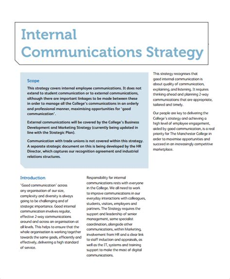 Communication Strategy Template Sle Communication Strategy 7 Documents In Word Pdf