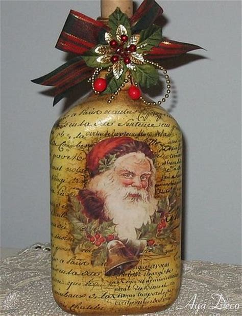 santa decoupage bottle christmas crafts and decorations