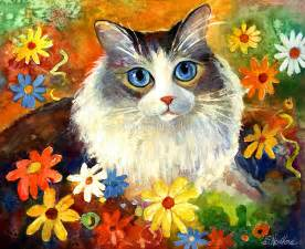 painting for cats quot whimsical cat painting in flowers svetlana novikova quot by