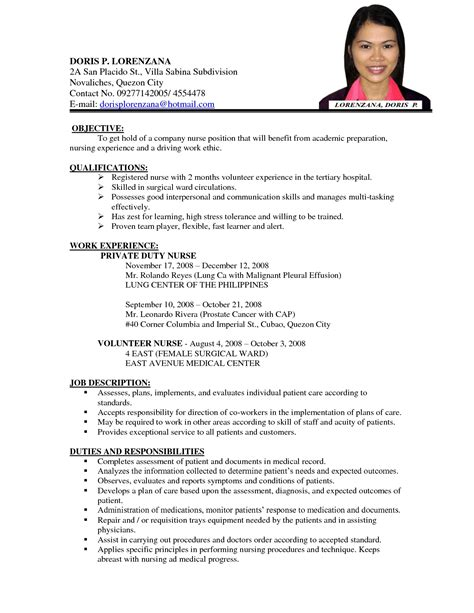 resume sle for nurses staff resume format it resume cover letter sle