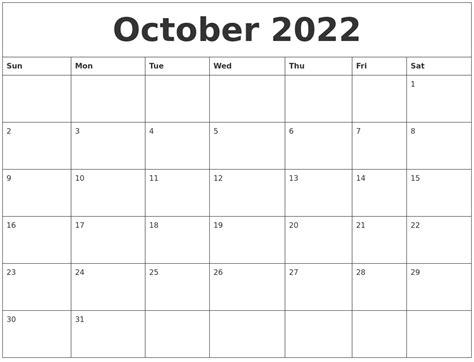 blank calendar template october october 2022 blank monthly calendar template
