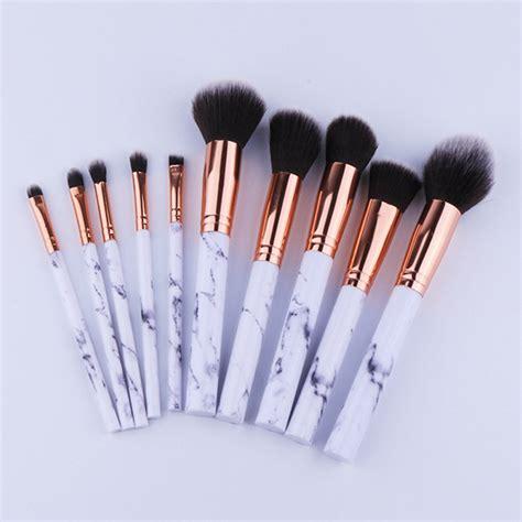 Murah Kuas Make Up Eyebrow Lip Brush 10pcs set professional makeup brushes marbling handle eye