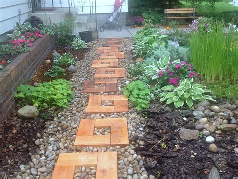 backyard stepping stones backyard garden wood and stone path with cedar stepping