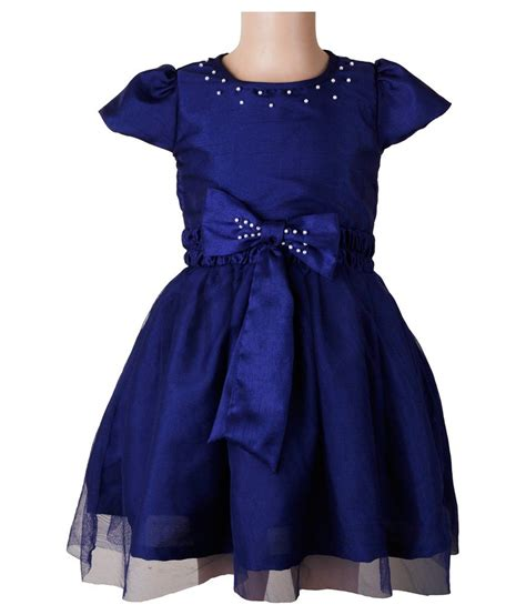 littleopia blue partywear beaded dress with pair of