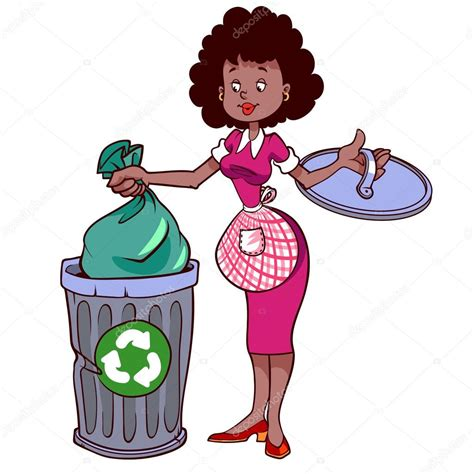 imagenes de niños botando basura linda ama de casa en delantal tirando basura vector de