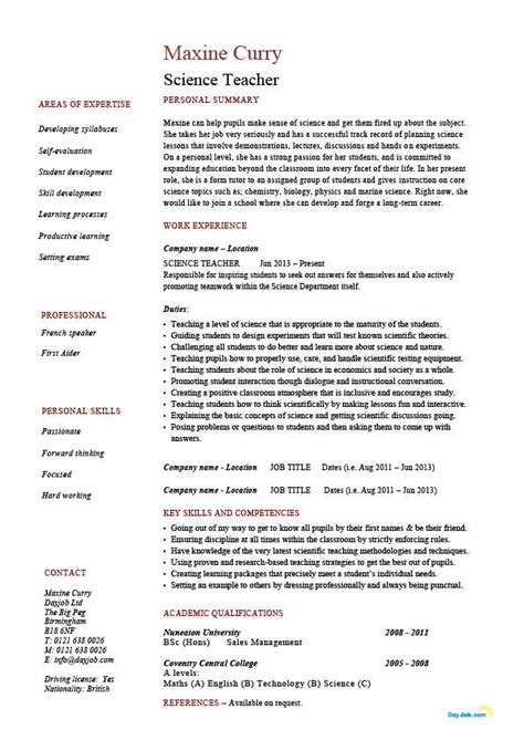 Science teacher resume, sample, example, job description