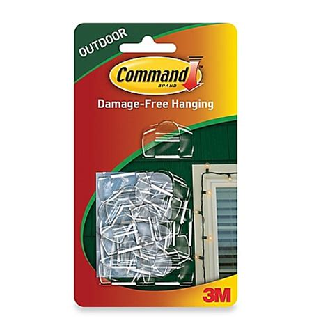 3m Command Outdoor Light Clips Set Of 16 Bed Bath Outdoor Light Hooks