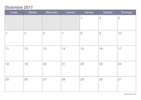 Calendario Diciembre 2017 Pdf Calendario Diciembre 2017 Para Imprimir Icalendario Net