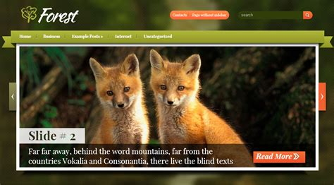 themes wordpress forest wordpress template for nature creature website wp template