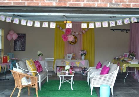 Gracie's Pink Lemonade Party. Garage party!   holidays