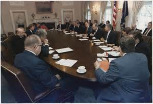 file president bush conducts a cabinet meeting in the