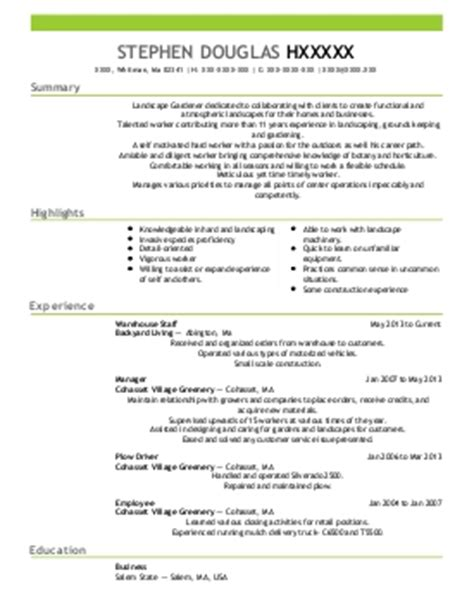 Gardening Resume Resources And Agriculture Horticulture And